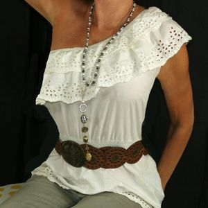 Eyelet white cotton off the shoulder top
